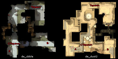 overview maps of Dust 2 and Cobble
